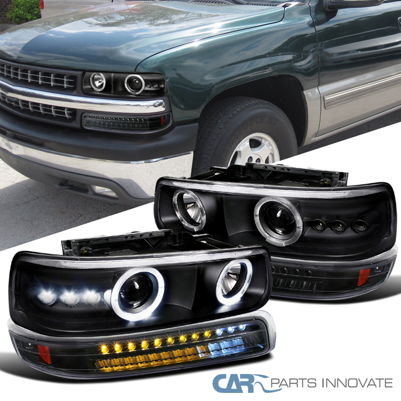 for 99 02 silverado 00 06 suburban black projector headlights led bumper lamps ebay details about for 99 02 silverado 00 06 suburban black projector headlights led bumper lamps