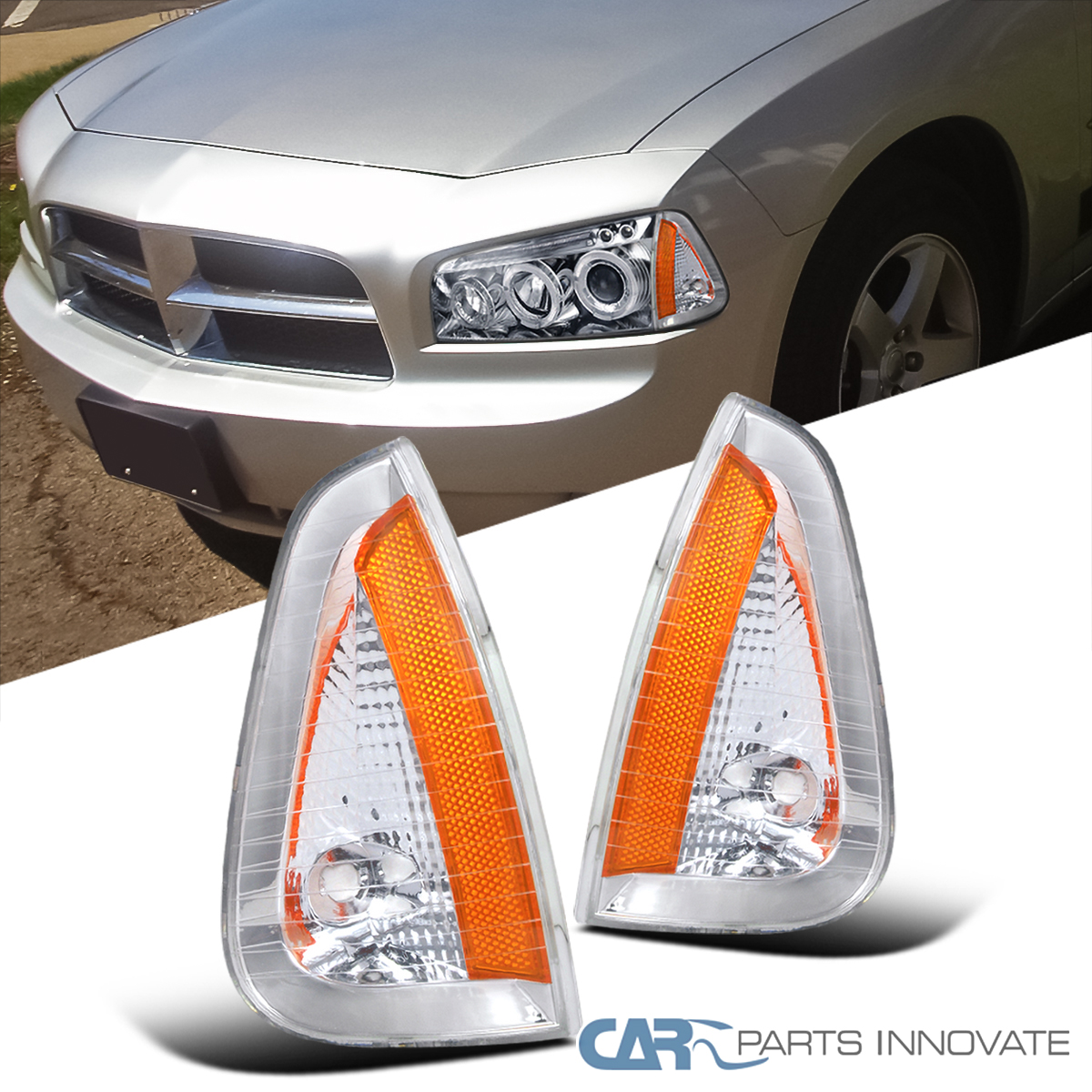Details about For Dodge 06-10 Charger Clear Lens Front Turn Signal Lamps  Corner Lights Pair