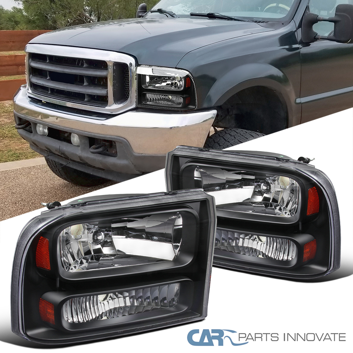 99 F350 Headlights >> Details About For 99 04 F250 F350 Super Duty 00 04 Excursion Pickup Black Clear 1pc Headlights