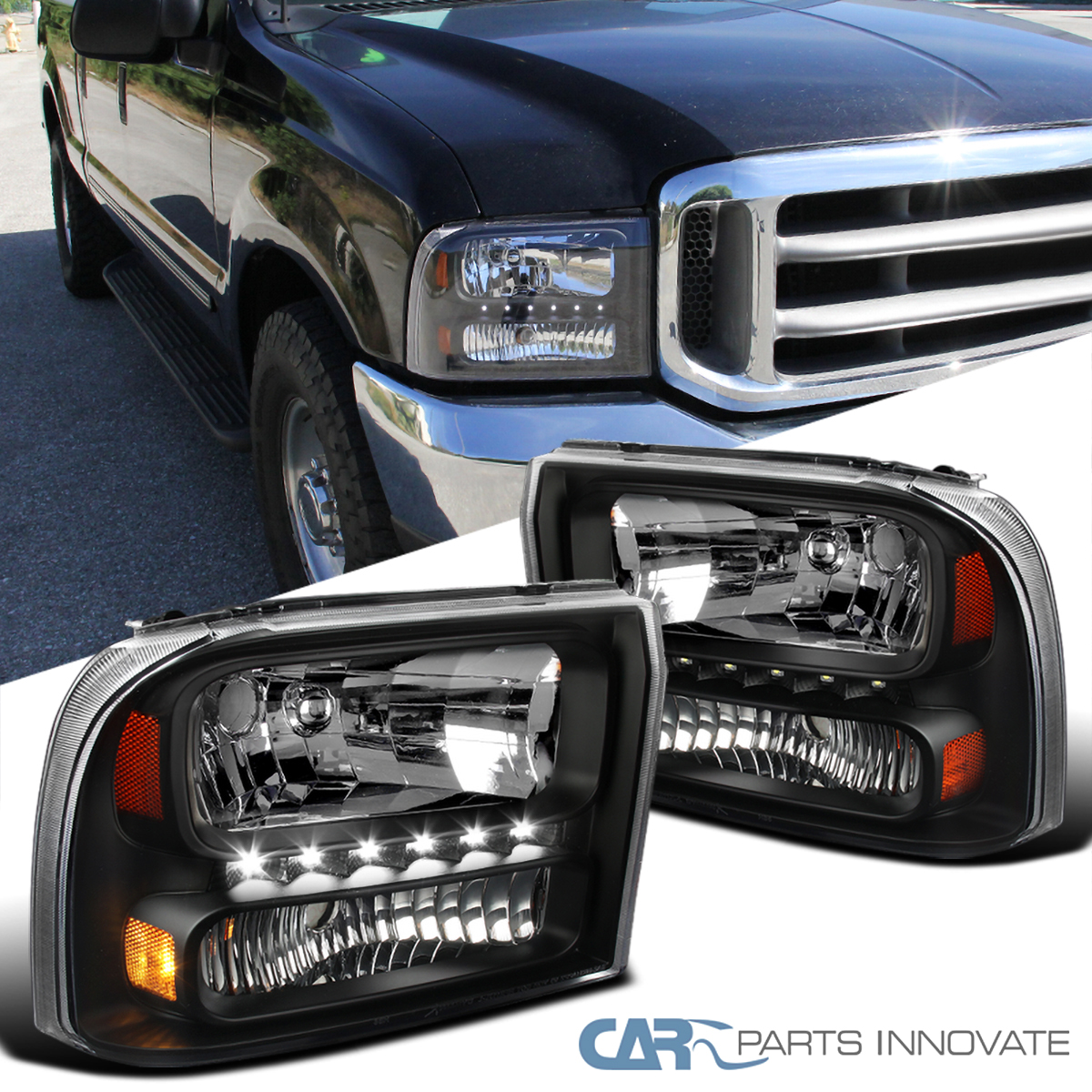 99 F350 Headlights >> Details About For Ford 99 04 F250 F350 Superduty 00 04 Excursion Black 1pc Headlights Smd Led