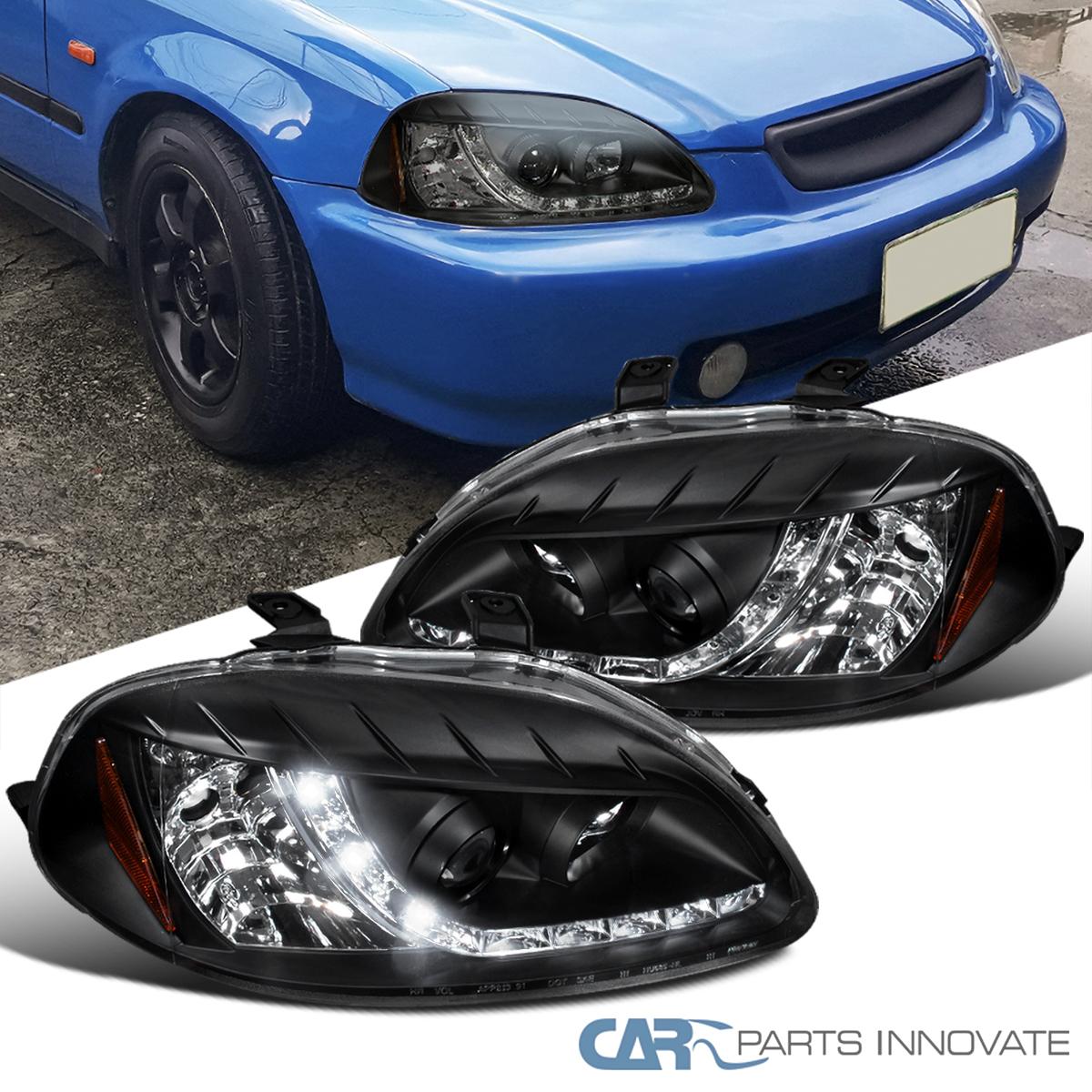 For Honda 96-98 Civic 2/3/4Dr Black Projector Headlights
