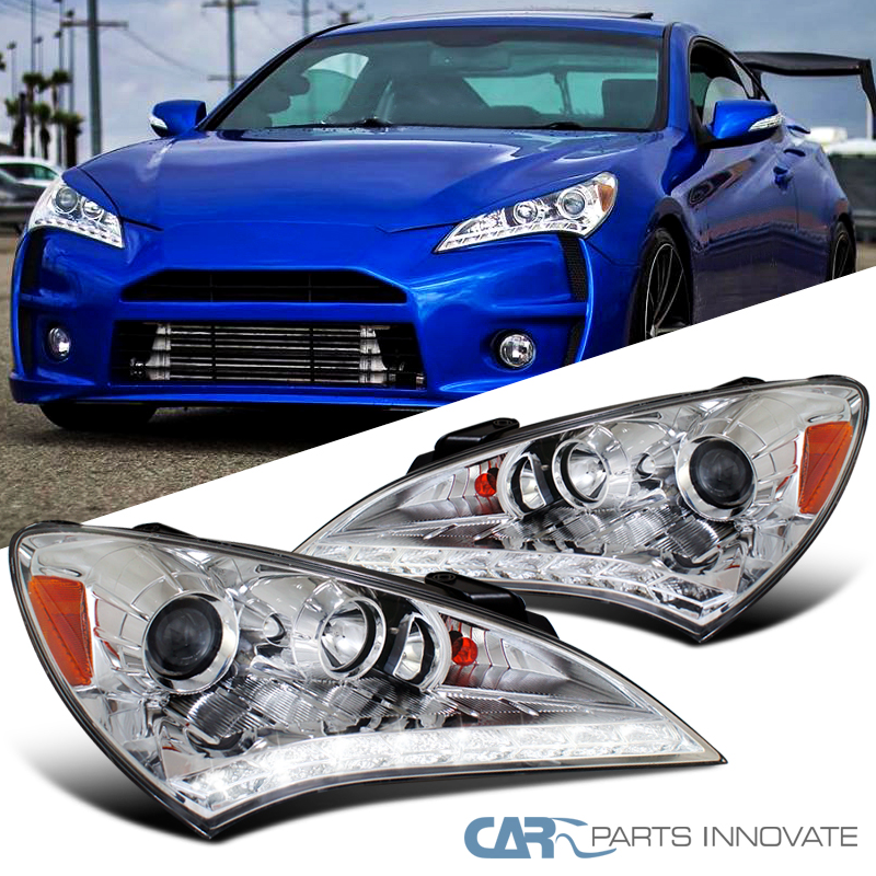 Details About For Hyundai 10 12 Genesis Coupe Clear Led Drl Projector Headlights Left Right