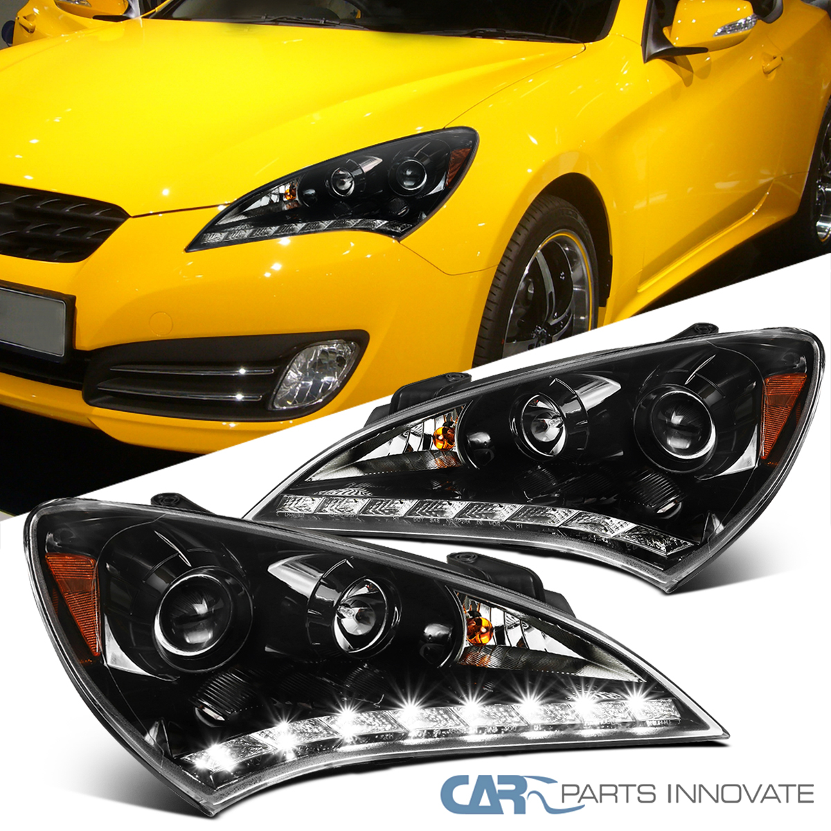 Details About Fit 10 12 Hyundai Genesis Coupe Pearl Black Smd Led Clear Projector Headlights