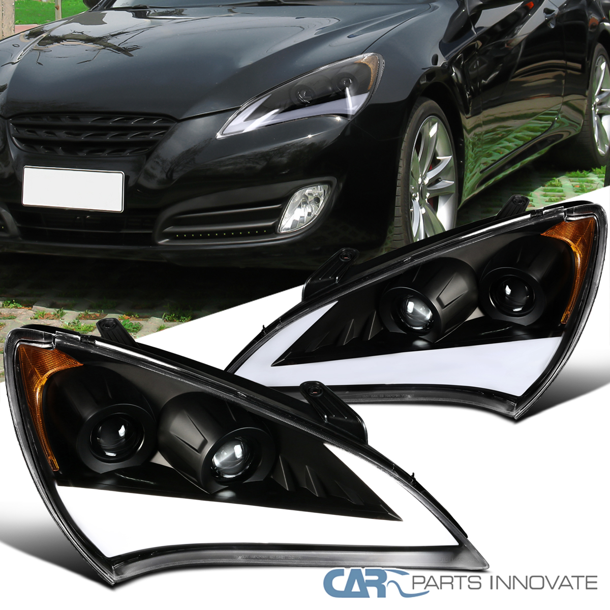 Details About 10 12 For Genesis Coupe Black Led Drl Sequential Signal Projector Headlights
