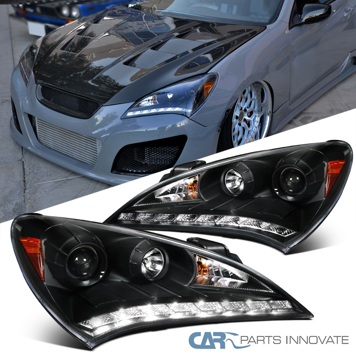 Details About For 10 12 Hyundai Genesis Coupe Black Smd Led Drl Projector Headlights Lamps
