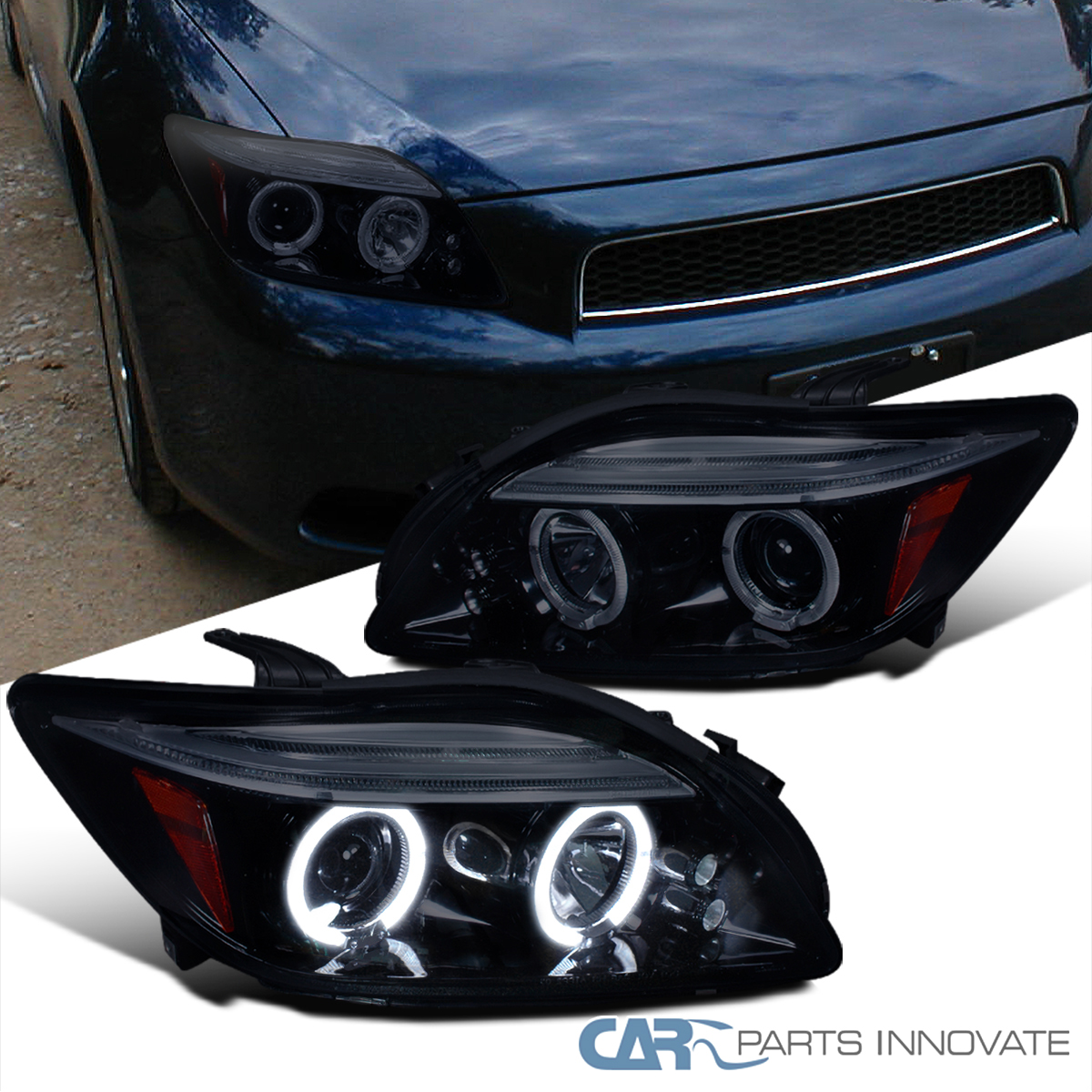 Scion Tc Headlights >> Details About New Glossy Black 05 10 Scion Tc Smoke Led Dual Halo Projector Headlights Lamps