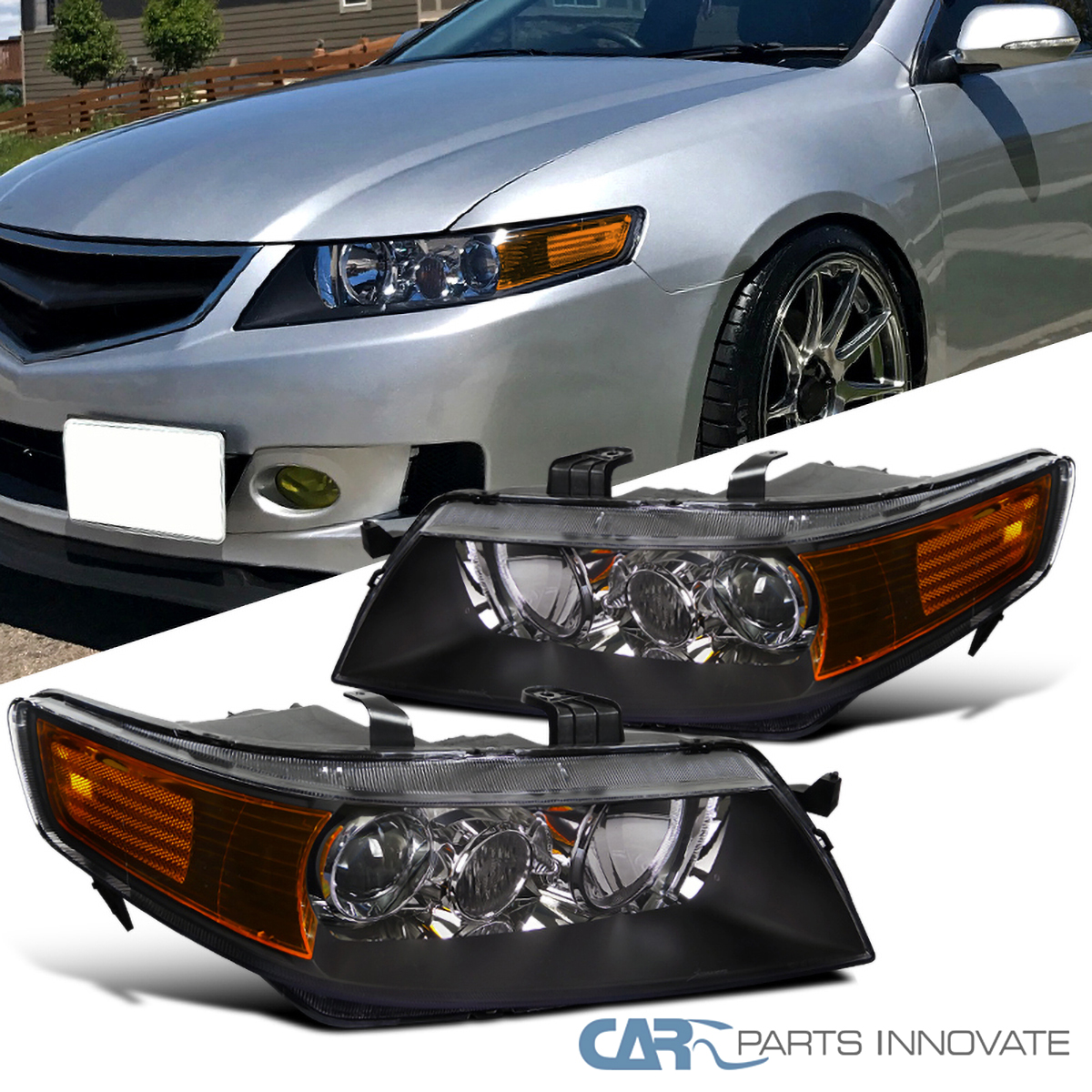 For 04-05 Acura TSX 4Dr Sedan Replacement Black Projector