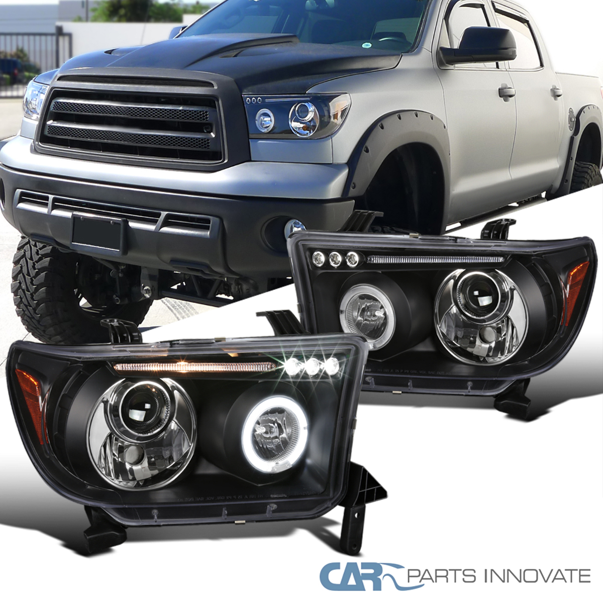 For 2007-2013 Toyota Tundra 08-17 Sequoia LED Halo Projector Headlights Headlamp