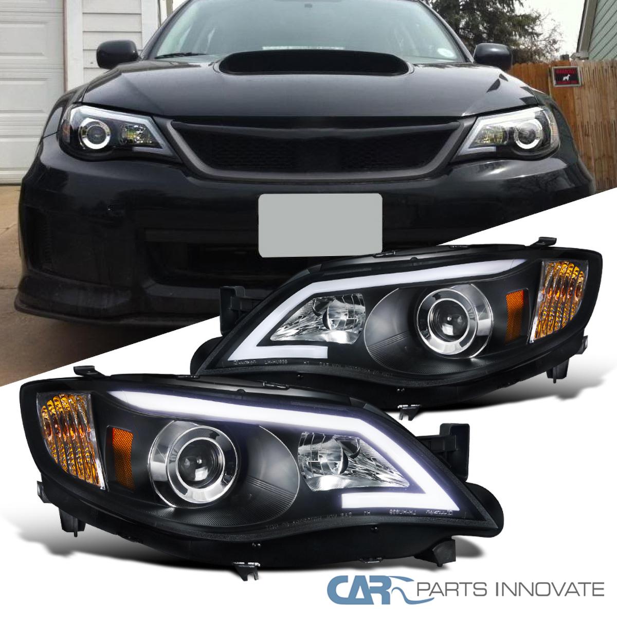 For 08 11 Impreza Outback Sport 08 14 Wrx Black Led Drl Projector Headlights Ebay