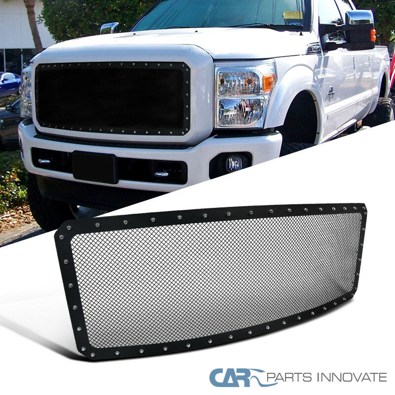 Grille Bracket Reinforcement for Ford F-Series Super Duty 11-16 Upper Textured Dark Gray Plastic-Capa
