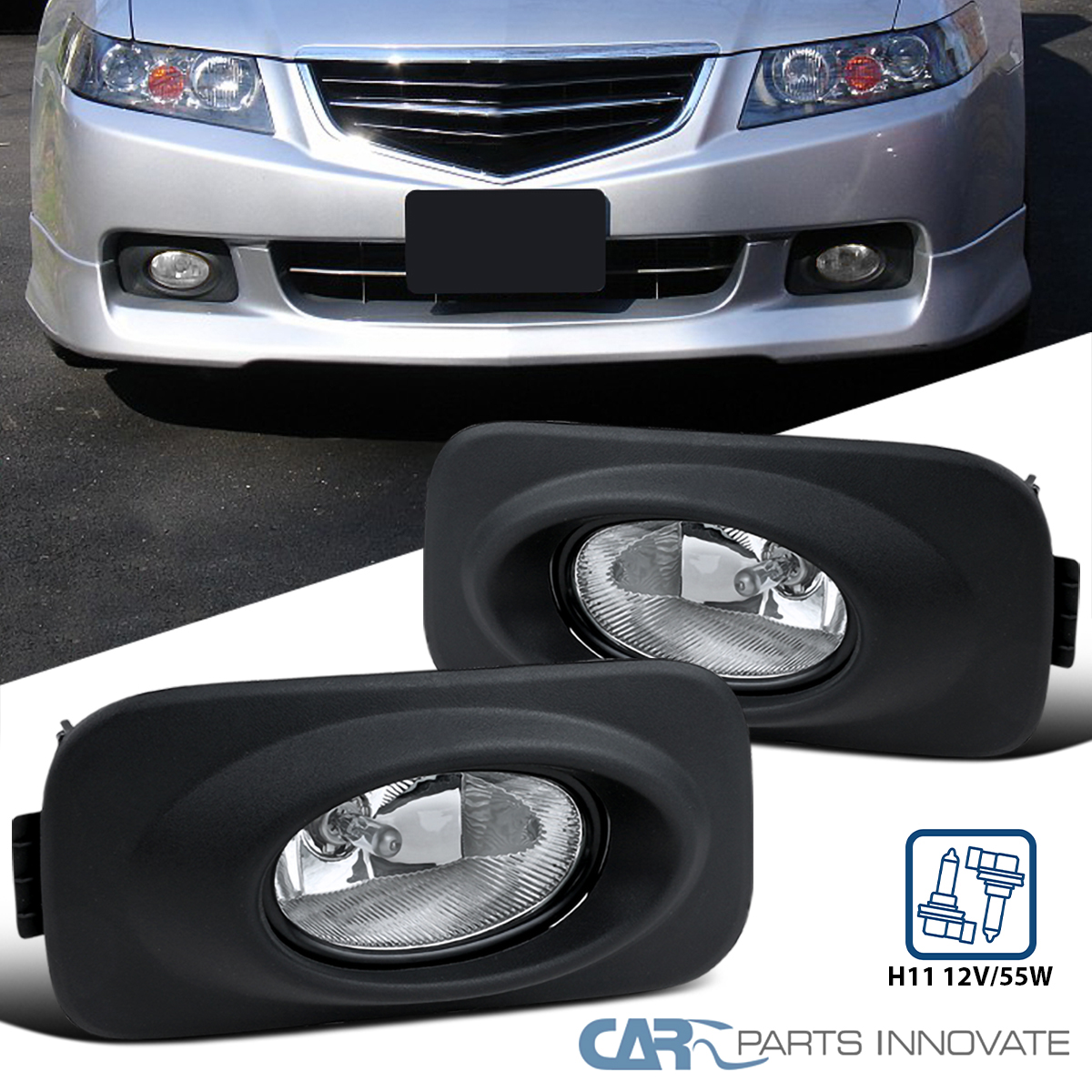 04-05 Acura TSX Replacement Yellow Lens Fog Lights Driving Bumper Lamps+Switch
