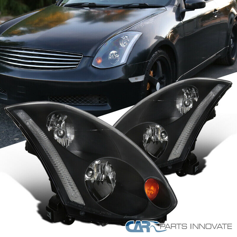 For 03-05 Infiniti G35 2Dr Clear Bumper Driving Fog Lights+Switch+Cover Trims