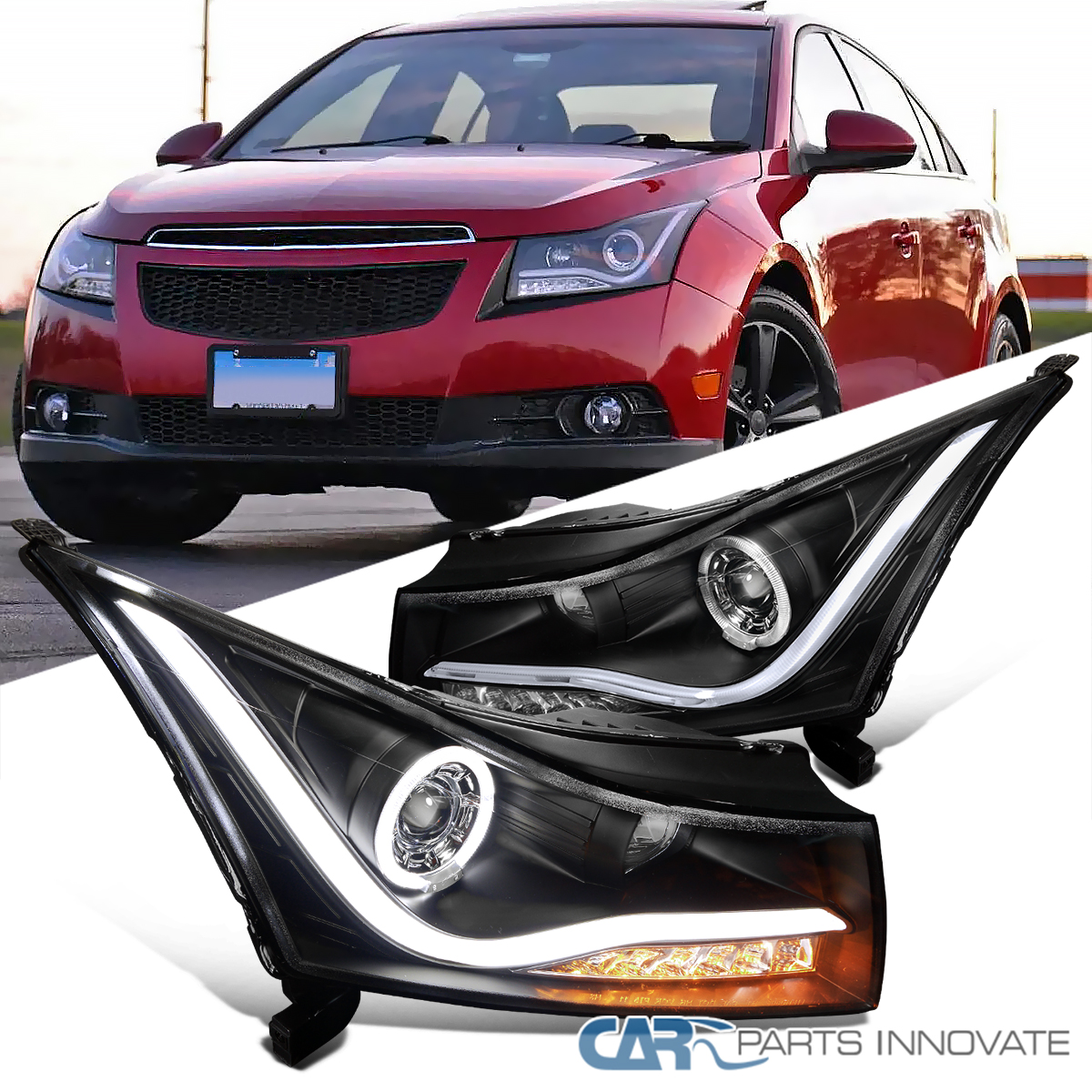 For 11 14 Chevy Cruze Black Led Halo Projector Headlights Amber
