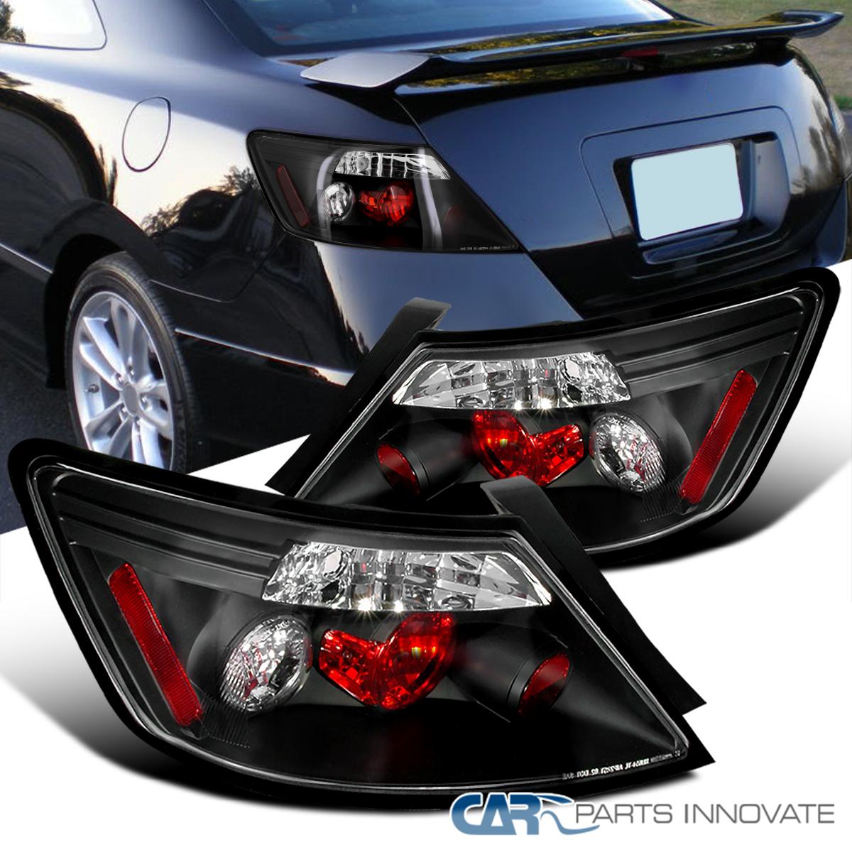 Fit 06-11 Honda Civic 2Dr Coupe Glossy Black Rear Smoke Tail Lights