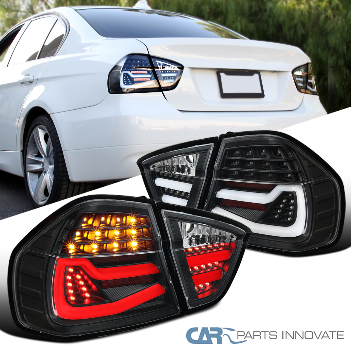 05-08 BMW 3 Series E90 4DR Sedan Black Tube LED Tail Lamps Rear Brake Light Pair
