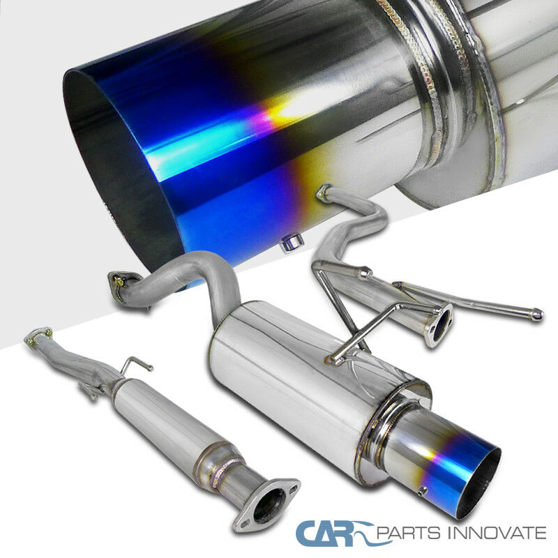 "FOR CIVIC ED 3RD 4.5/"" BURNT TIP MUFFLER STAINLESS STEEL CATBACK+CAT EXHAUST PIPE"