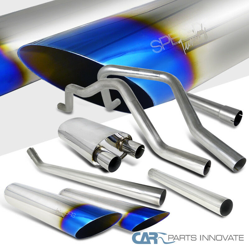 "FOR 04-08 F150 4.6//5.4 V8 3.5/""ROLLED BURNT TIP STAINLESS EXHAUST CATBACK SYSTEM"