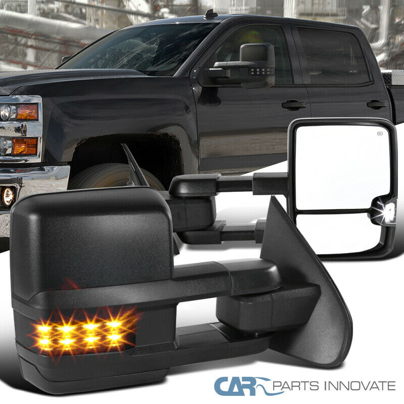 For 14-18 Chevy Silverado GMC Sierra Power+Heated+Smoke LED Signal Tow Mirrors