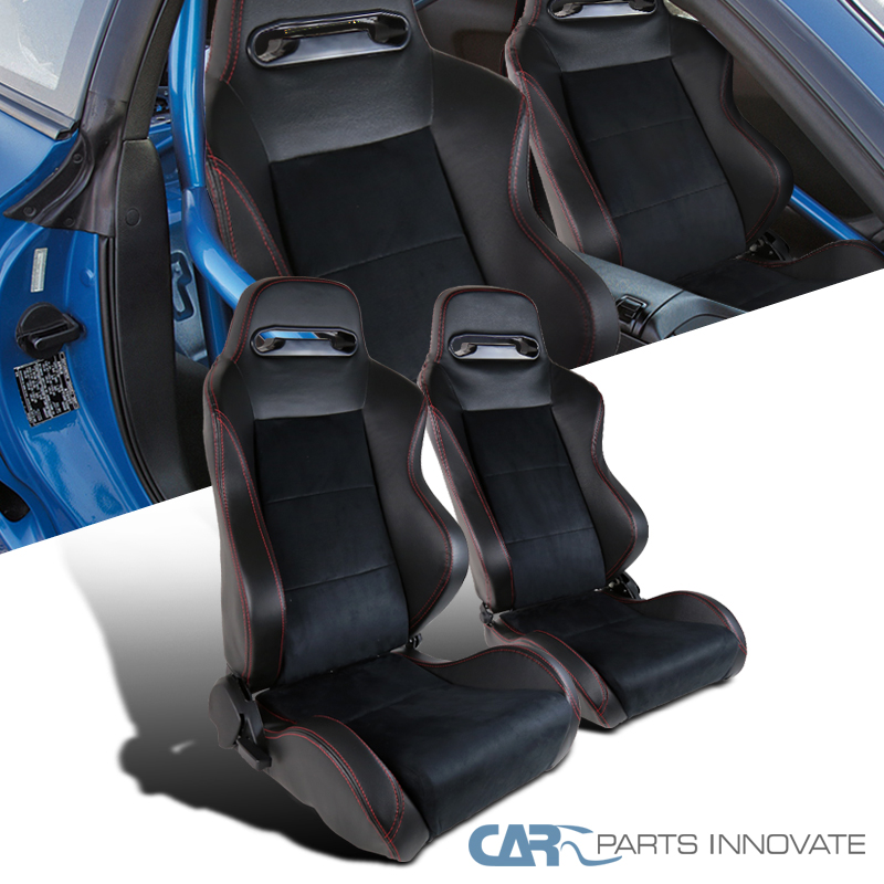 Details about Recaro Style Speed Racing Seats PVC Suede Leather JDM Red  Stitch Left+Right