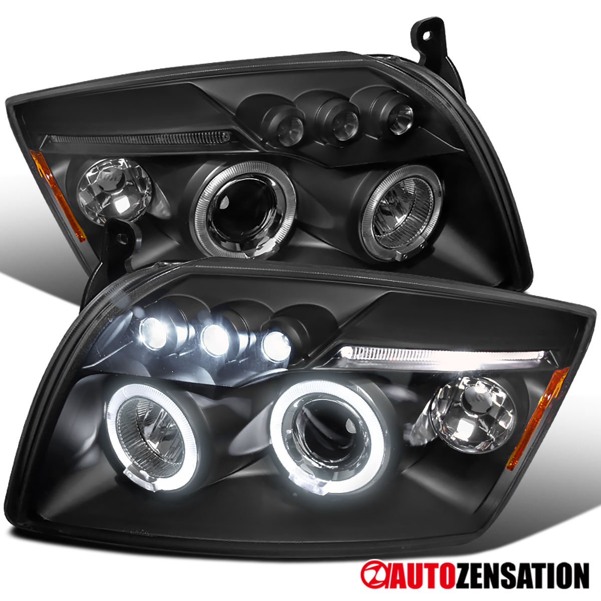 2007-2012 Dodge Caliber Replacement Clear LED Halo Projector Headlights Pair