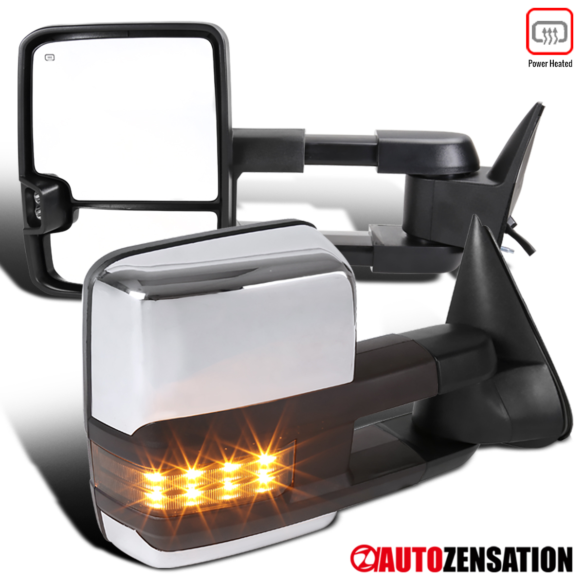 88-98 C10 C//K Chrome Power Heated Smoke LED Signal Towing Side Mirrors Pair
