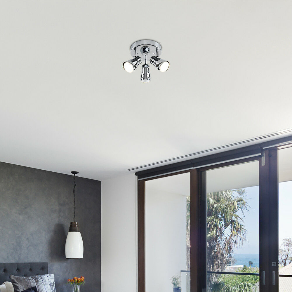 Modern-3-Way-LED-GU10-Ceiling-Spot-Lights-Spotlights-Black-Chrome-Copper-Grey thumbnail 19