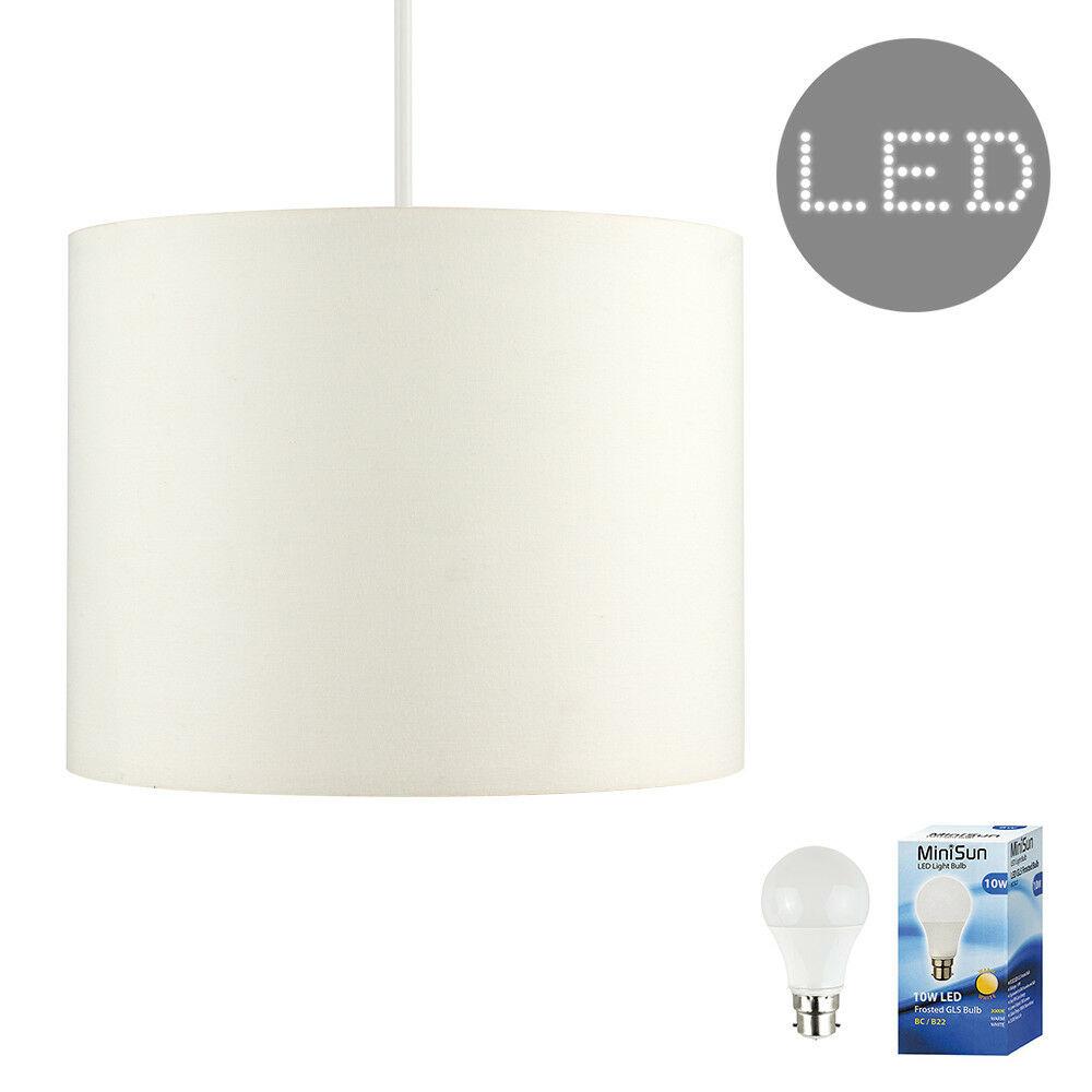 Modern-in-tessuto-cotone-Easy-Fit-Soffitto-Ciondolo-Luce-a-tamburo-Tonalita-Tavolo-Paralume miniatura 66