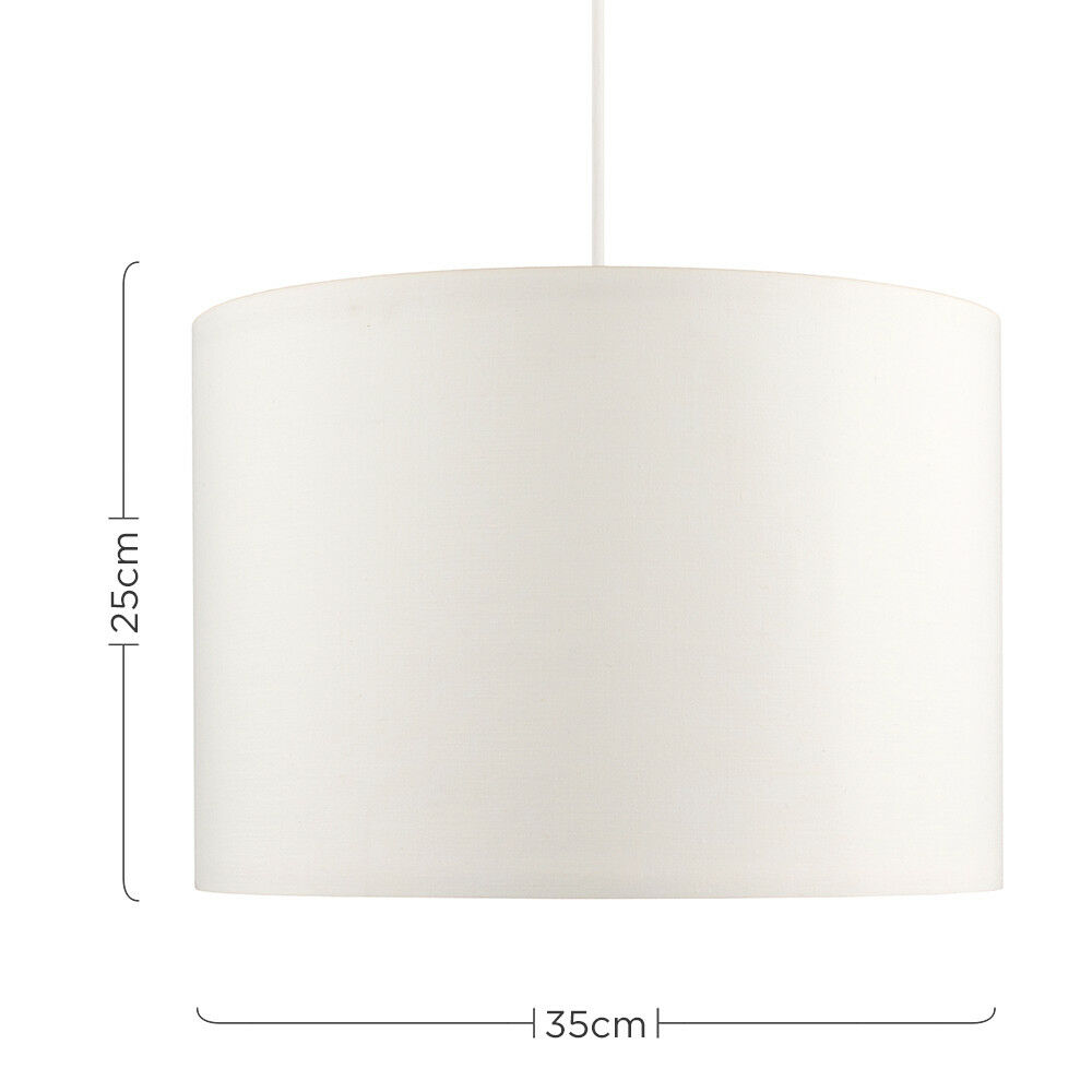 Modern-in-tessuto-cotone-Easy-Fit-Soffitto-Ciondolo-Luce-a-tamburo-Tonalita-Tavolo-Paralume miniatura 70