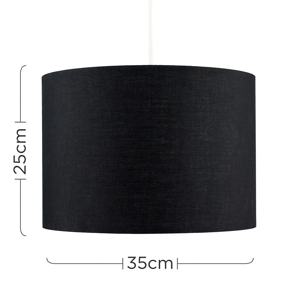 Modern-in-tessuto-cotone-Easy-Fit-Soffitto-Ciondolo-Luce-a-tamburo-Tonalita-Tavolo-Paralume miniatura 15