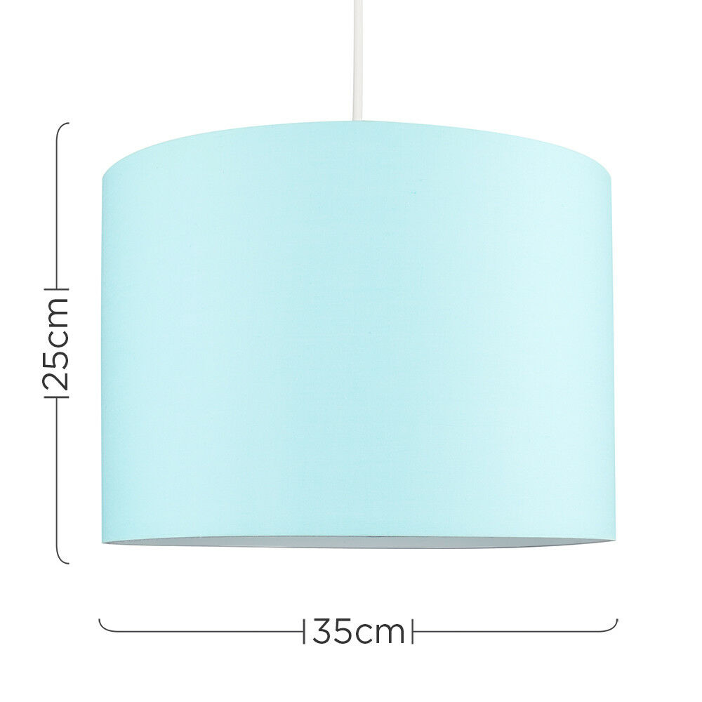 Modern-in-tessuto-cotone-Easy-Fit-Soffitto-Ciondolo-Luce-a-tamburo-Tonalita-Tavolo-Paralume miniatura 80
