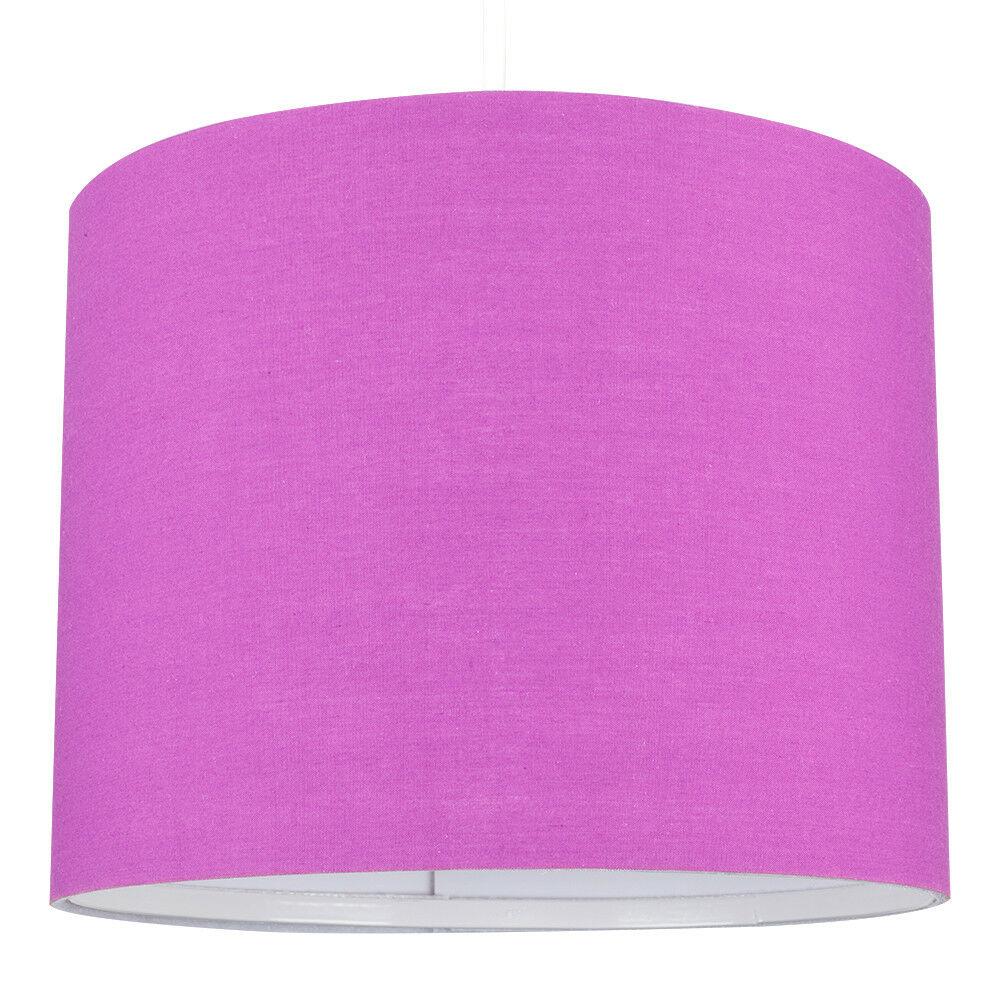 Modern-in-tessuto-cotone-Easy-Fit-Soffitto-Ciondolo-Luce-a-tamburo-Tonalita-Tavolo-Paralume miniatura 193