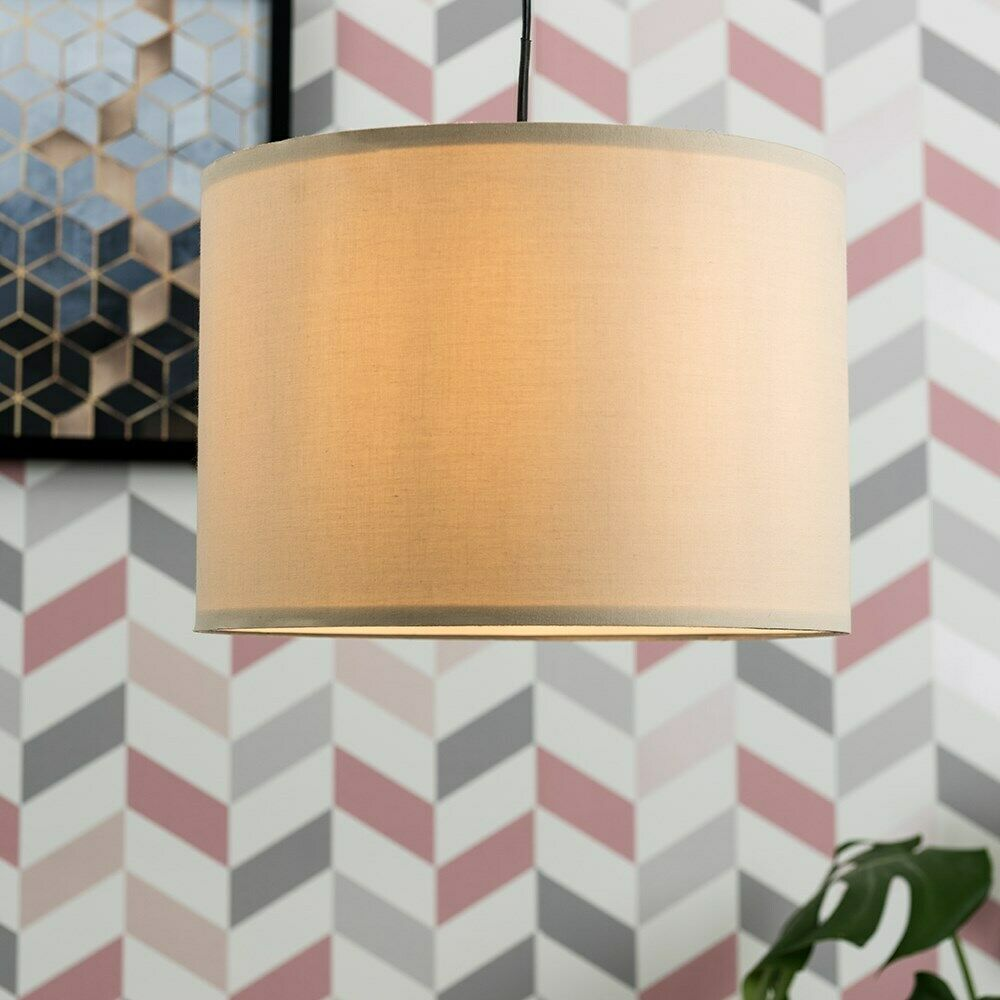 Tela-moderna-algodon-facil-ajuste-Techo-Colgante-Pantalla-De-Mesa-tonos-de-luz-de-tambor miniatura 50