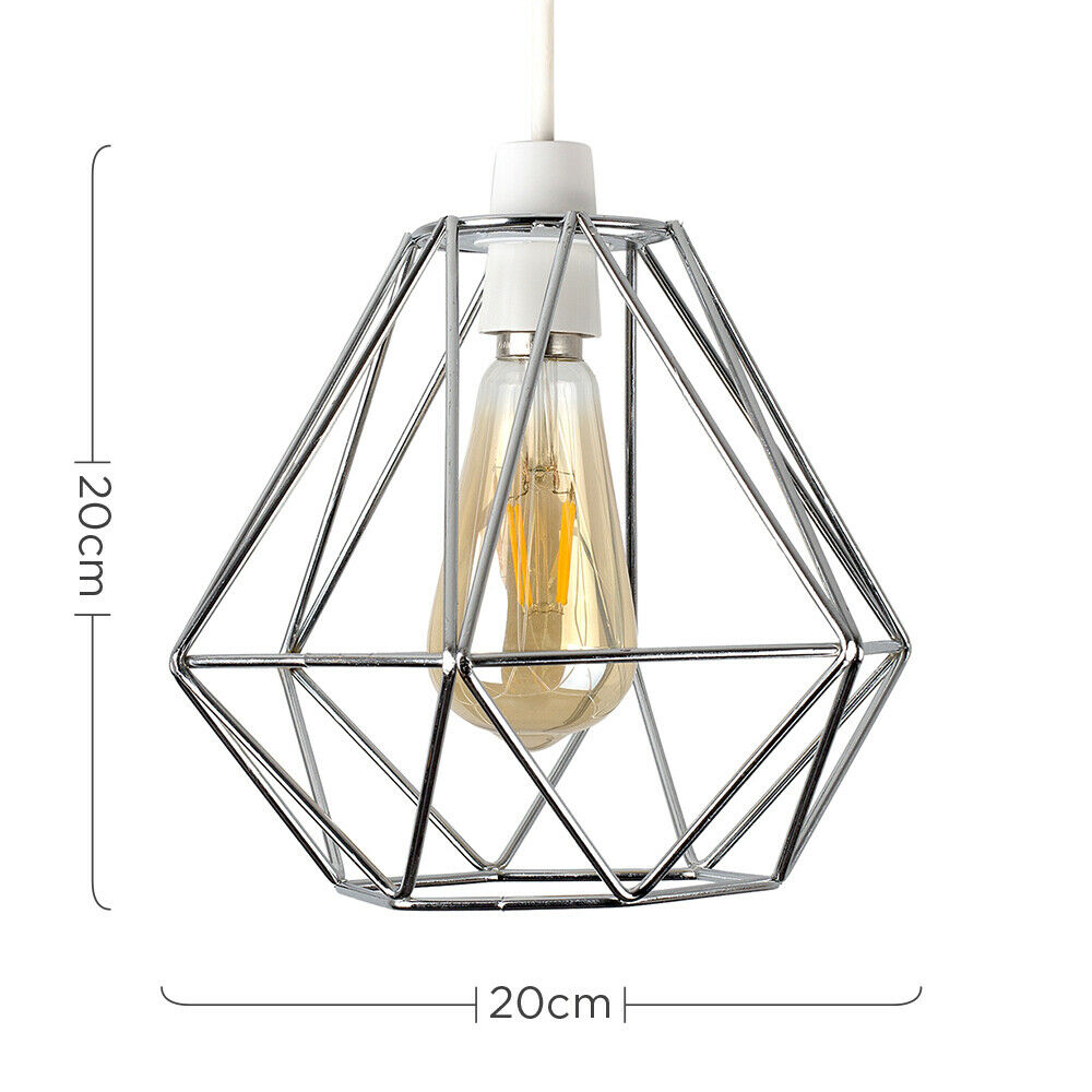 Geometric-Wire-Design-Pendant-Shades-Easy-Fit-Retro-Lighting-LED-Light-Bulbs thumbnail 24