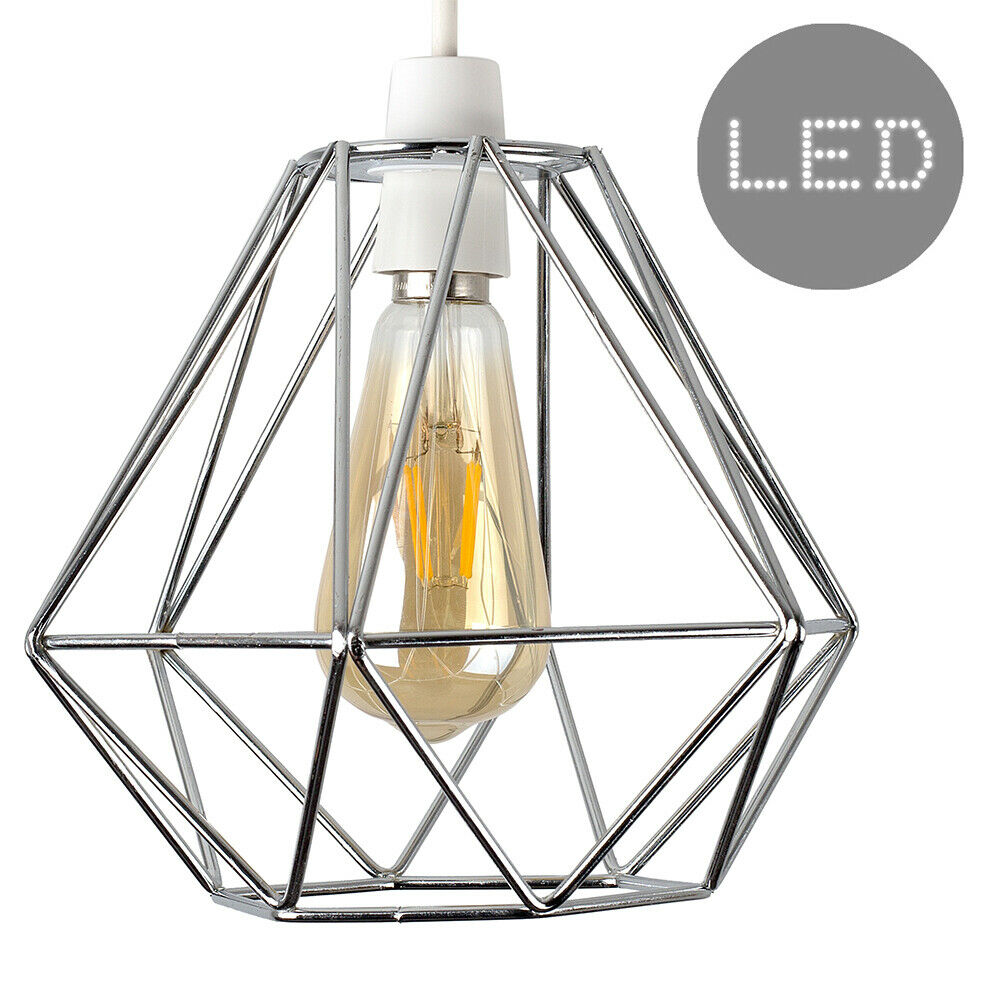 Geometric-Wire-Design-Pendant-Shades-Easy-Fit-Retro-Lighting-LED-Light-Bulbs thumbnail 26