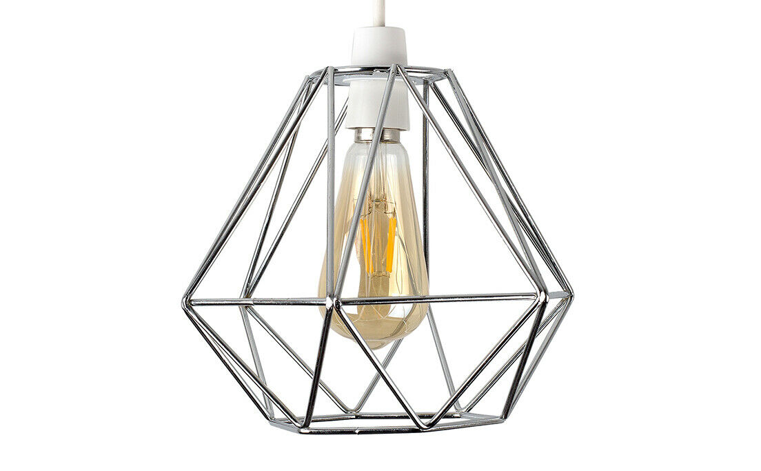 Geometric-Wire-Design-Pendant-Shades-Easy-Fit-Retro-Lighting-LED-Light-Bulbs thumbnail 25