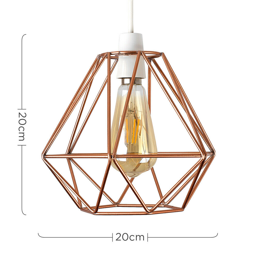 Geometric-Wire-Design-Pendant-Shades-Easy-Fit-Retro-Lighting-LED-Light-Bulbs thumbnail 35