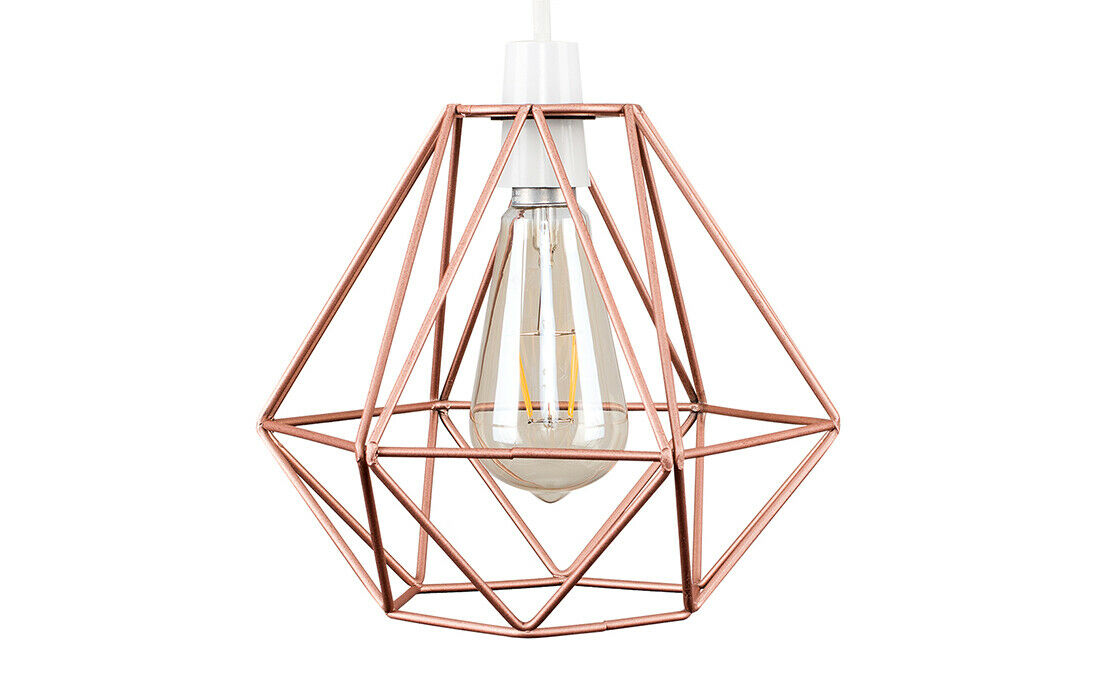 Geometric-Wire-Design-Pendant-Shades-Easy-Fit-Retro-Lighting-LED-Light-Bulbs thumbnail 36