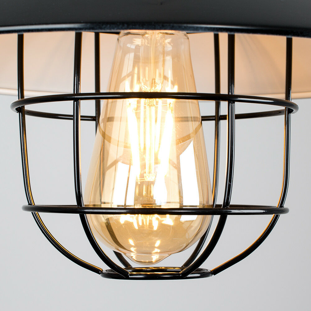 Vintage-Industrial-LED-Metal-Cage-Ceiling-Pendant-Light-Shade-Filament-Bulb thumbnail 5