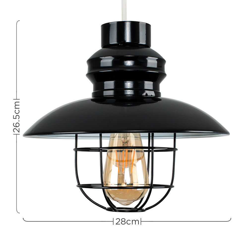 Vintage-Industrial-LED-Metal-Cage-Ceiling-Pendant-Light-Shade-Filament-Bulb thumbnail 6