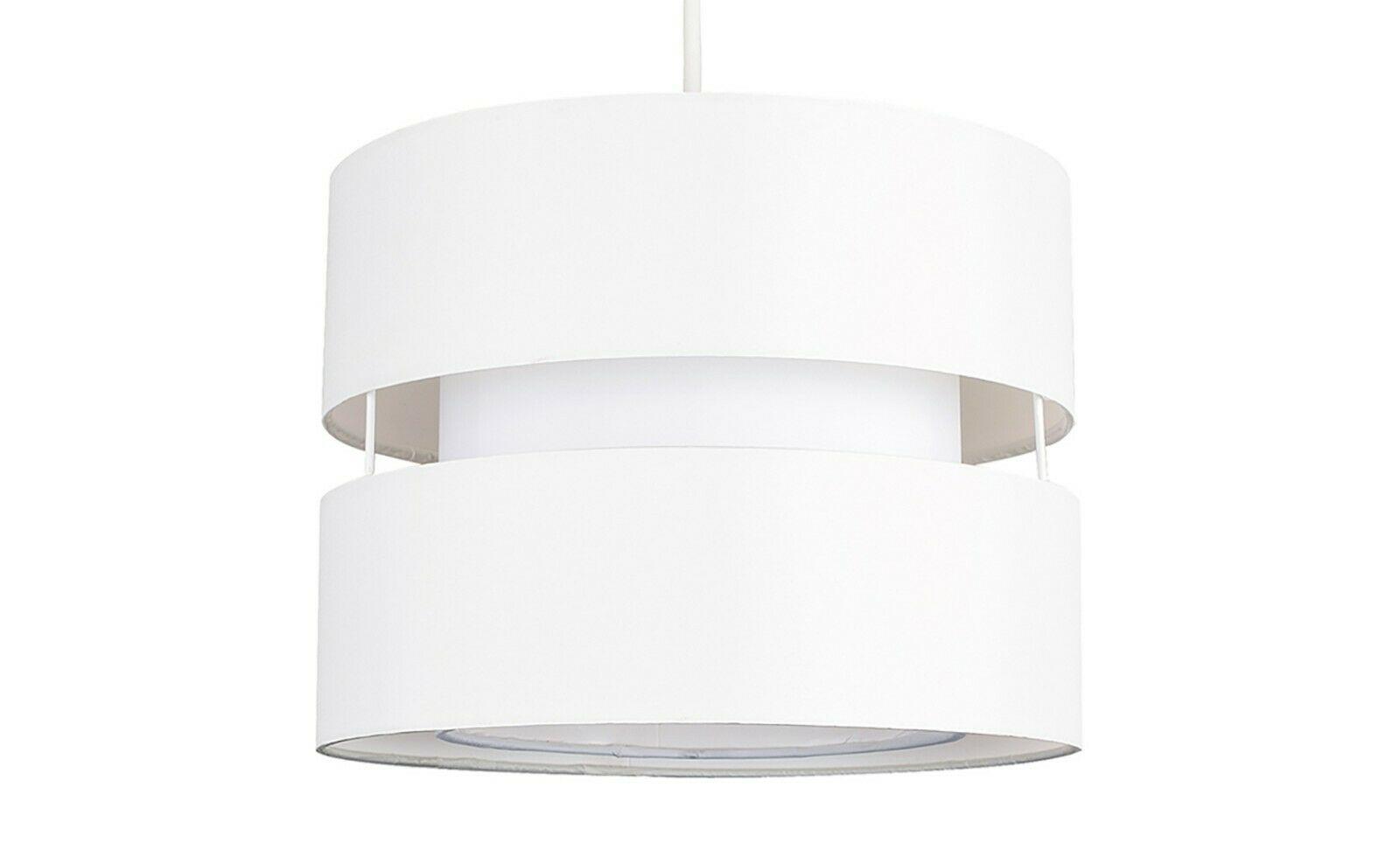 Moderne-Ajustement-Facile-Coton-Tambour-Plafond-Pendentif-Abat-jour-Moderne-Lumiere-eclairage miniature 16