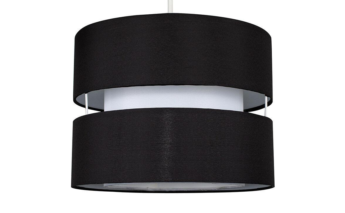 Moderne-Ajustement-Facile-Coton-Tambour-Plafond-Pendentif-Abat-jour-Moderne-Lumiere-eclairage miniature 8