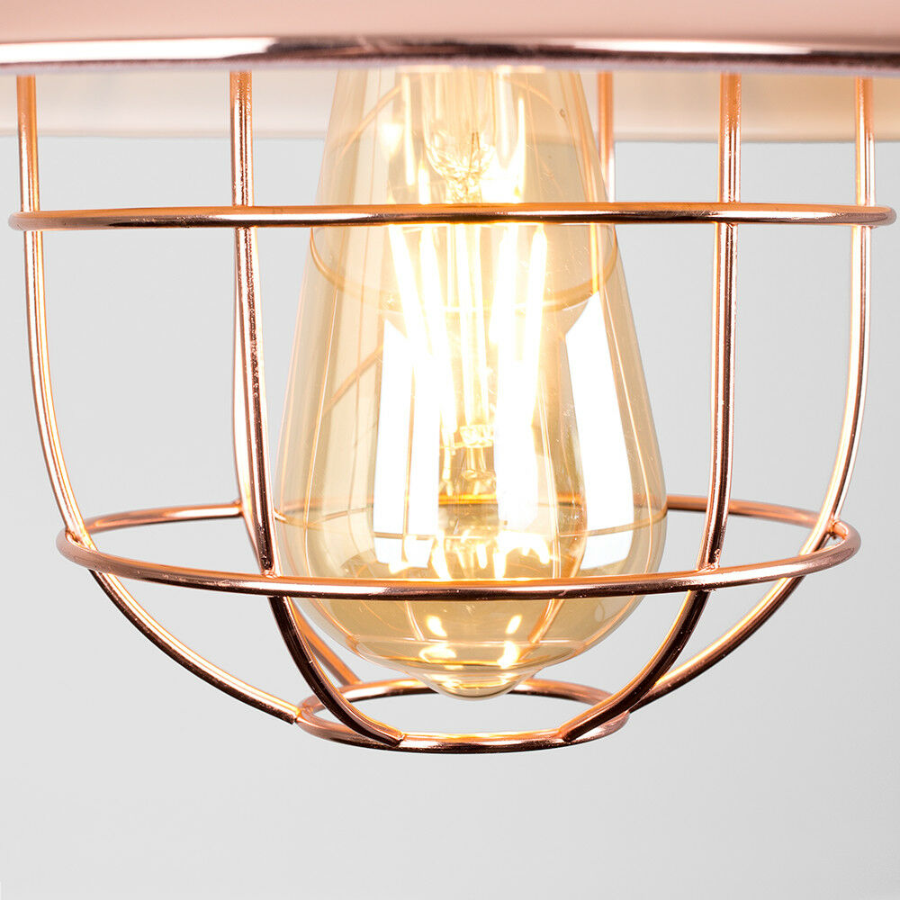 Vintage-Industrial-LED-Metal-Cage-Ceiling-Pendant-Light-Shade-Filament-Bulb thumbnail 24