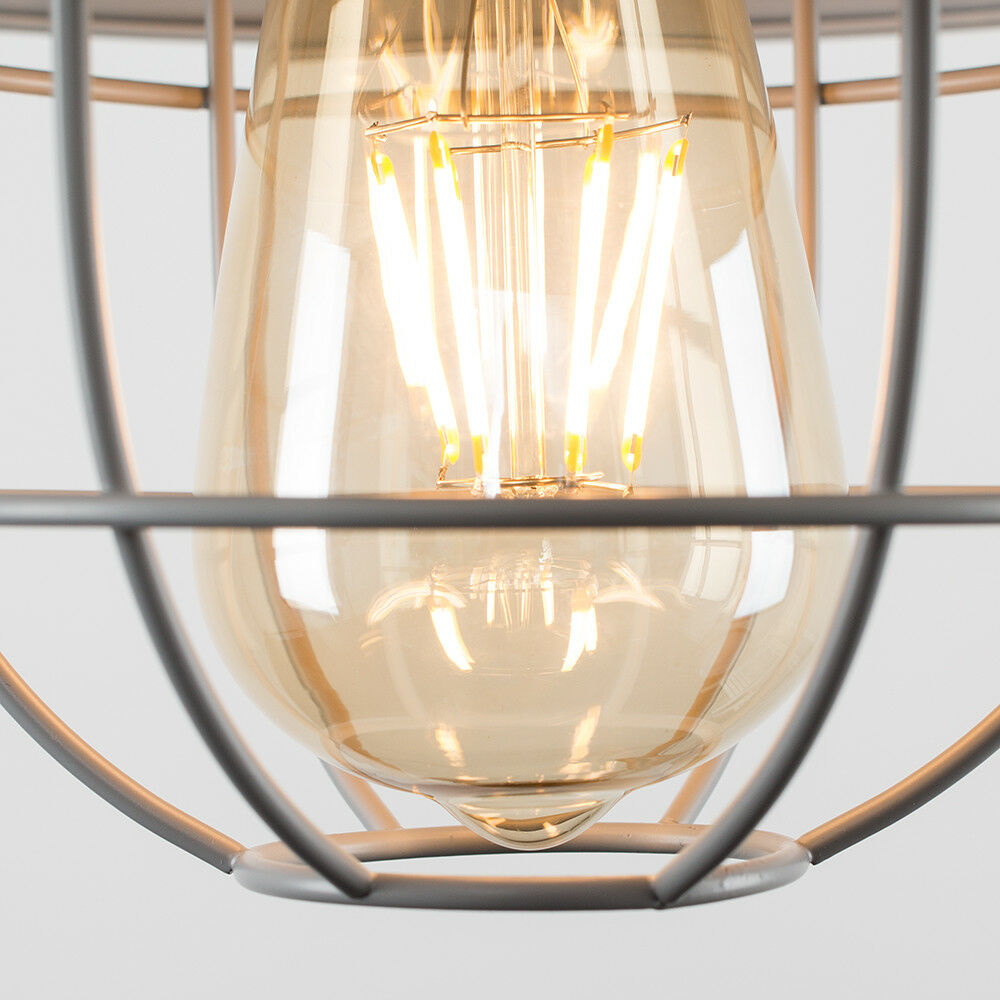 Vintage-Industrial-LED-Metal-Cage-Ceiling-Pendant-Light-Shade-Filament-Bulb thumbnail 44