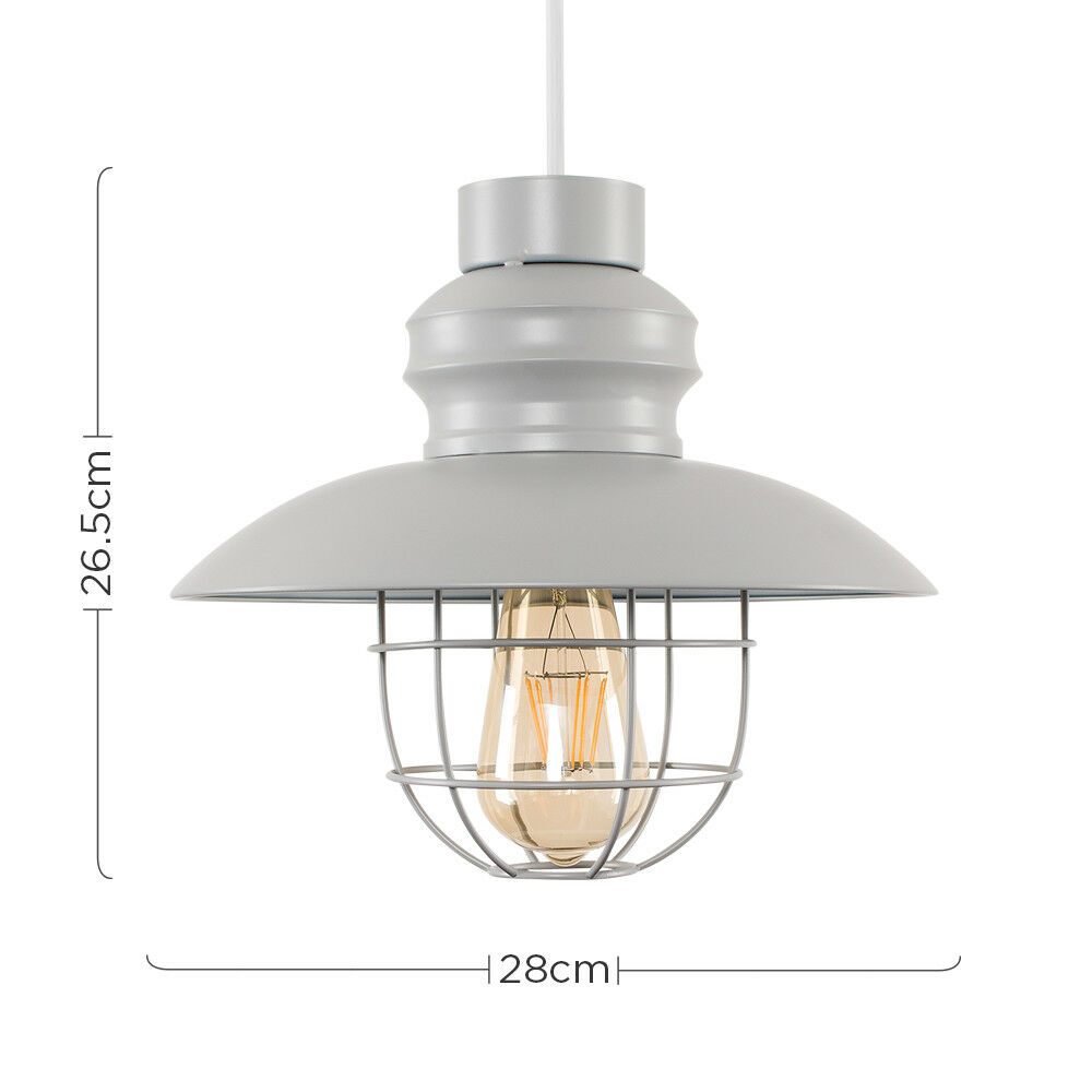 Vintage-Industrial-LED-Metal-Cage-Ceiling-Pendant-Light-Shade-Filament-Bulb thumbnail 43