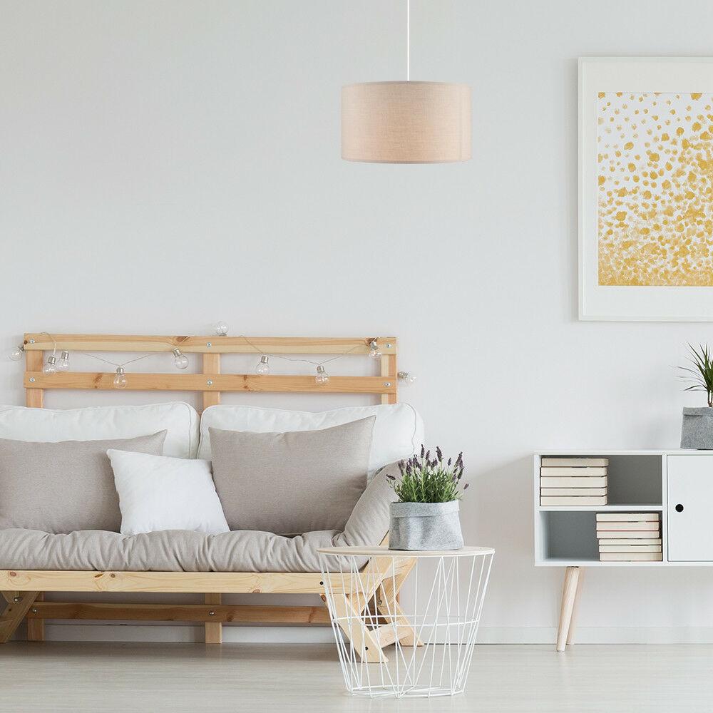 Modern-in-tessuto-cotone-Easy-Fit-Soffitto-Ciondolo-Luce-a-tamburo-Tonalita-Tavolo-Paralume miniatura 7