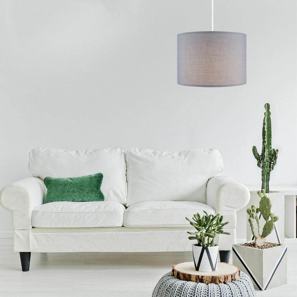 Modern-in-tessuto-cotone-Easy-Fit-Soffitto-Ciondolo-Luce-a-tamburo-Tonalita-Tavolo-Paralume miniatura 110