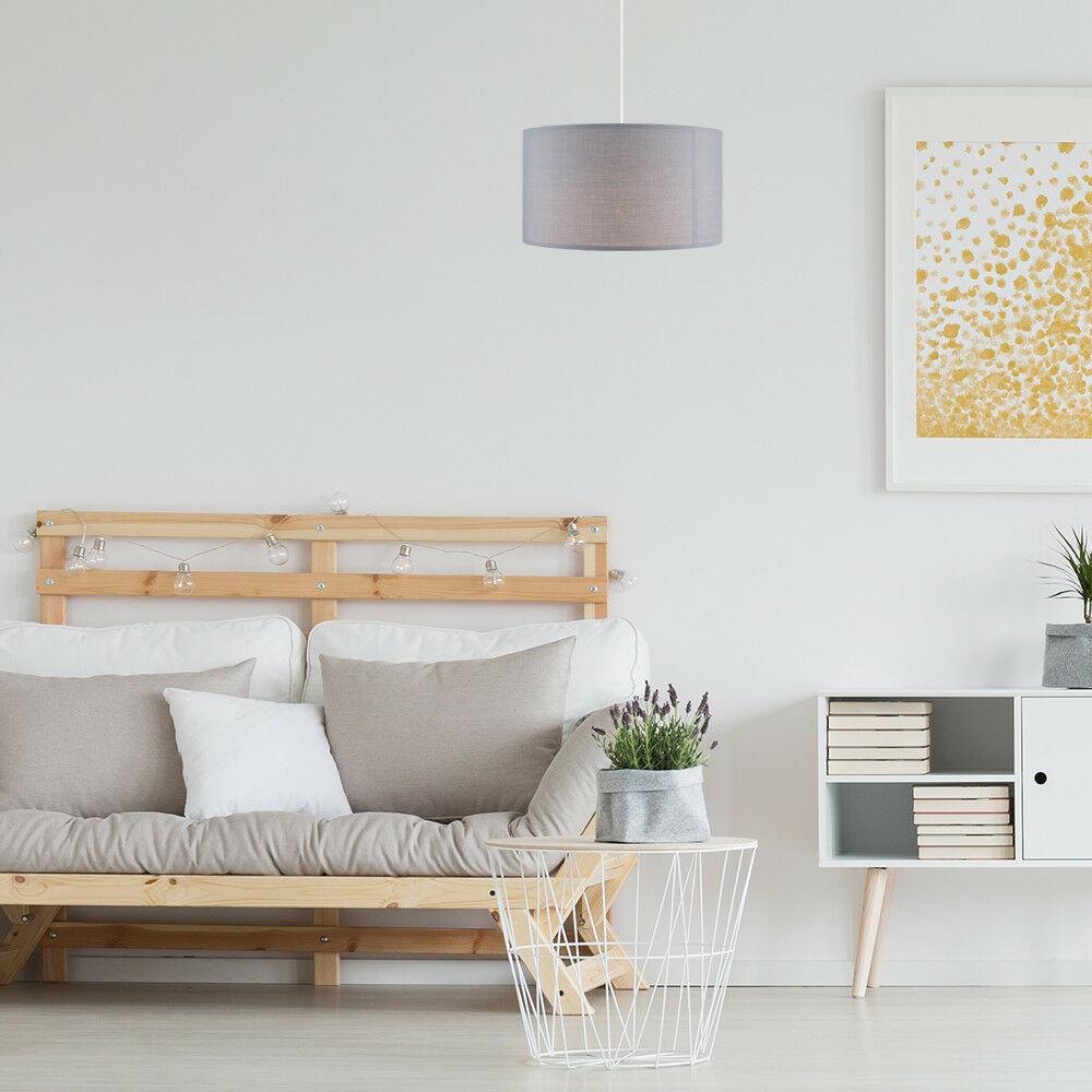 Modern-in-tessuto-cotone-Easy-Fit-Soffitto-Ciondolo-Luce-a-tamburo-Tonalita-Tavolo-Paralume miniatura 112