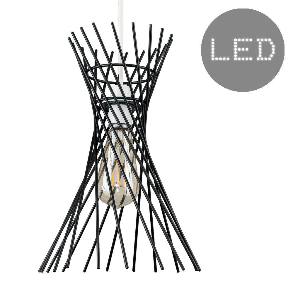 Red-de-Alambre-de-Cobre-Negro-Diseno-Colgante-De-Techo-No-Electrica-tonos-Bombilla-LED miniatura 8