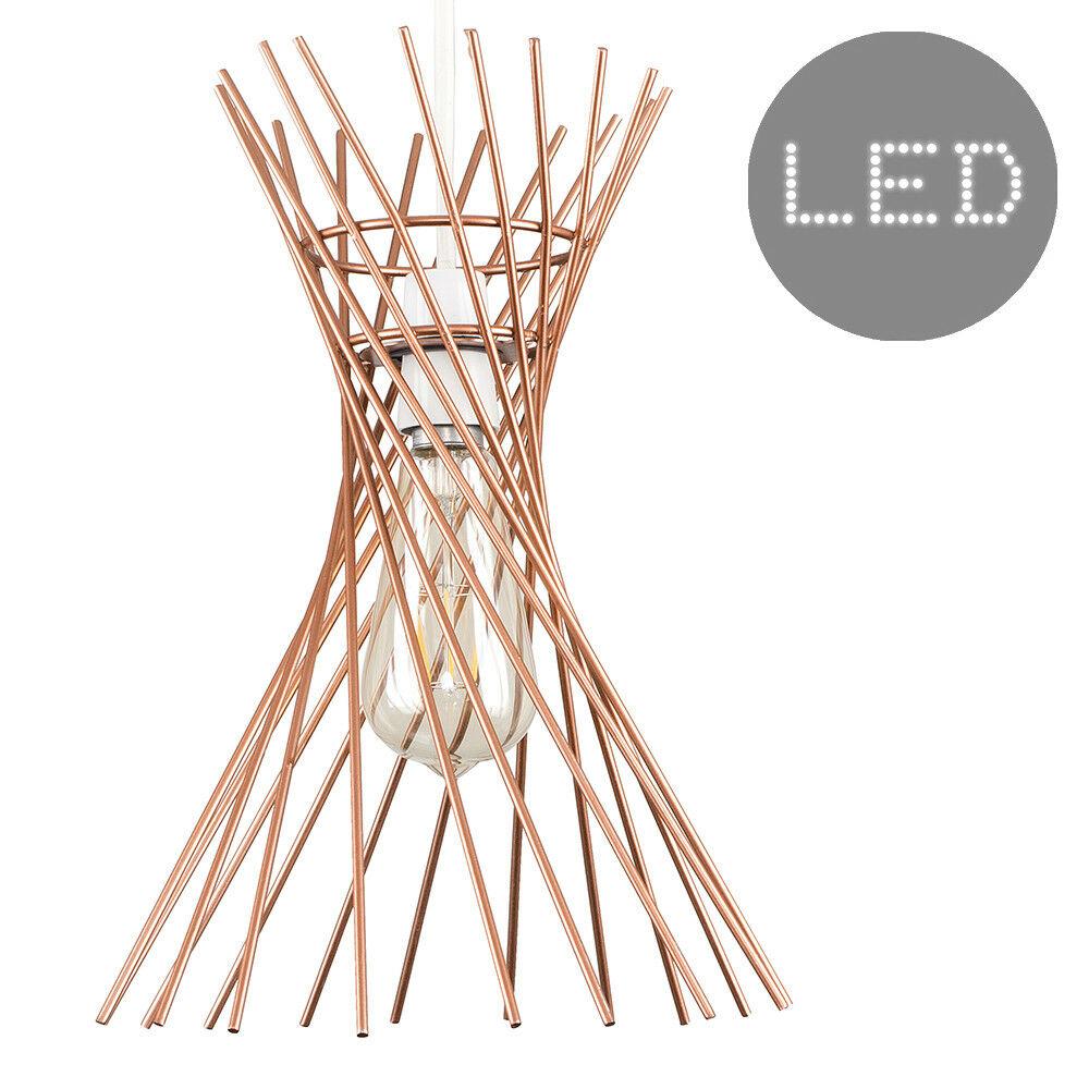 Red-de-Alambre-de-Cobre-Negro-Diseno-Colgante-De-Techo-No-Electrica-tonos-Bombilla-LED miniatura 15