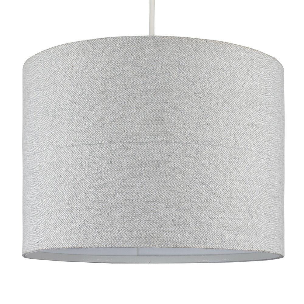 Modern-in-tessuto-cotone-Easy-Fit-Soffitto-Ciondolo-Luce-a-tamburo-Tonalita-Tavolo-Paralume miniatura 161